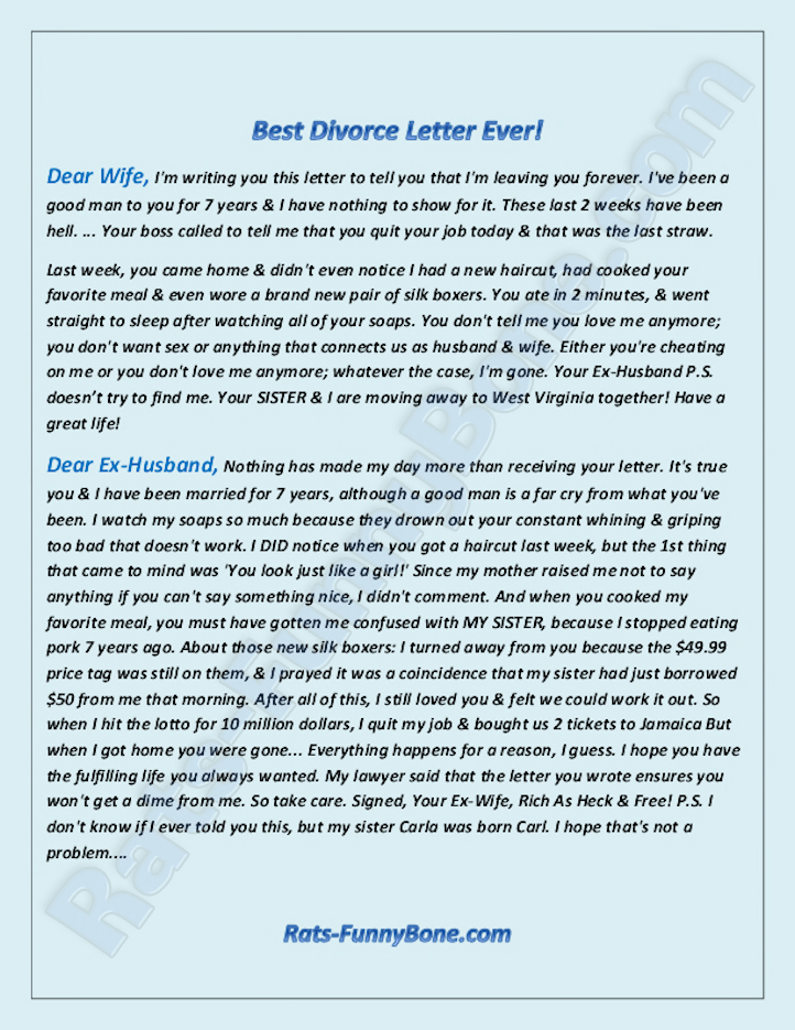 Dear Ex Husband: The Best Divorce Letter Ever! | Rats FunnyBone.com