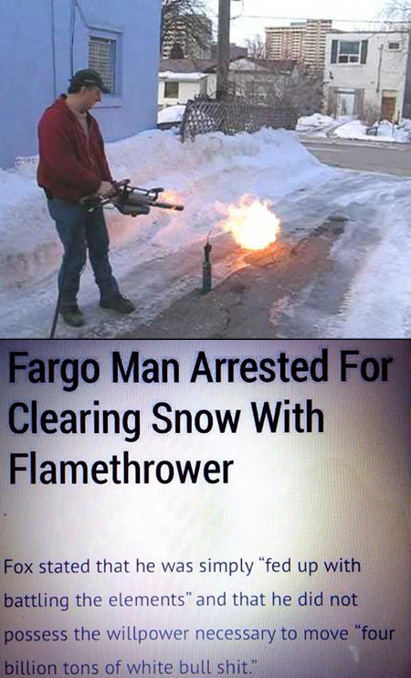 Fargo Man Uses Flamethrower